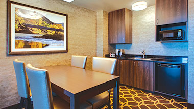 The dining area in the deluxe suite at Zia Park Casino, Hotel and Racetrack.