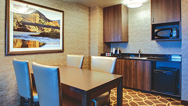 The dining area in the balcony suite at Zia Park Casino, Hotel and Racetrack.