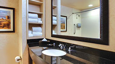 A guest bathroom at Zia Park Casino, Hotel and Racetrack..